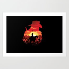 horse sunset Art Print