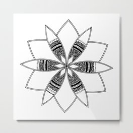 Simple black mandala on white Metal Print