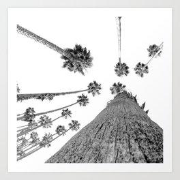 {2 of 2} Hug a Palm Tree // Tropical Summer Black and White Sky Art Print Art Print