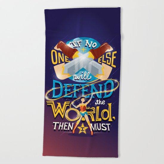 Defend your world v2 Beach Towel