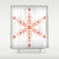 snowflake Shower Curtains featuring SnowFlake by Izabela Mikolajczyk