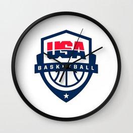 USA basketball logo Wall Clock
