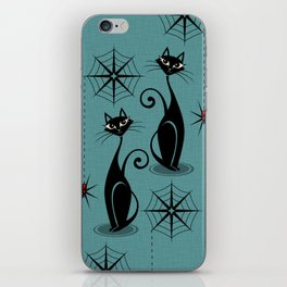 Retro Atomic Spooky Cats iPhone Skin