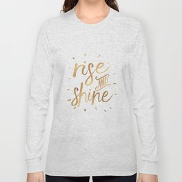 RISE AND SHINE Sign, Bedroom Decor,Home Decor,Living Room Decor,Motivational Quote,Rise And Grind,Qu Long Sleeve T-shirt