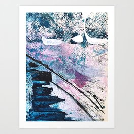 Breathe [5]: colorful abstract in black, blue, purple, gold and white Art Print