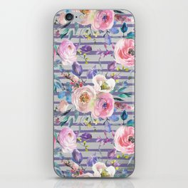 Pink lavender watercolor geometrical floral stripes iPhone Skin