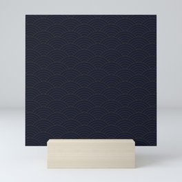Blue and gold sashiko Mini Art Print