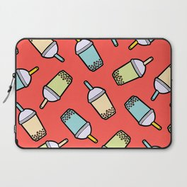 Bubble Tea Pattern in Red Laptop Sleeve