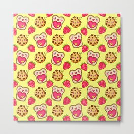Cute funny sweet adorable happy Kawaii toast with raspberry jam and butter, chocolate chip cookies, red ripe summer strawberries cartoon fantasy sunny yellow pattern design Metal Print
