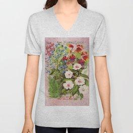 Vintage Flowers Advertisement Collage Unisex V-Neck