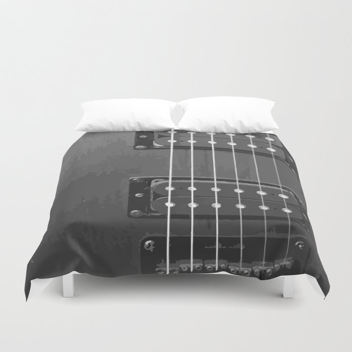 Black and White Guitar Duvet Cover