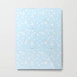 Feline Flurries on Light Blue Metal Print