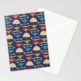 Retro Mid Century Modern Abstract Mobile 646 Blue Orange Olive and Beige Stationery Cards