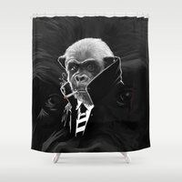 cigarettes Shower Curtains featuring mnky2 by karakalemustadi
