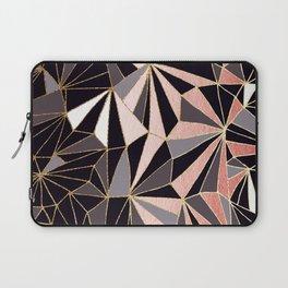 Stylish Art Deco Geometric Pattern - Black, Coral, Gold #abstract #pattern Laptop Sleeve