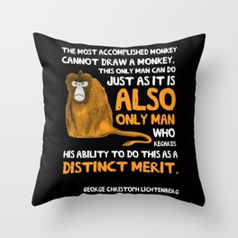 Clever Monkey Throw Pillow
