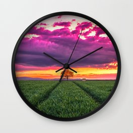 Lonely Tree On Meadow At Beautiful Evening Red Ultra HD Wall Clock