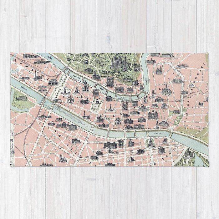 Vintage Map Of Lyon France 1894 Rug By Bravuramedia Society6