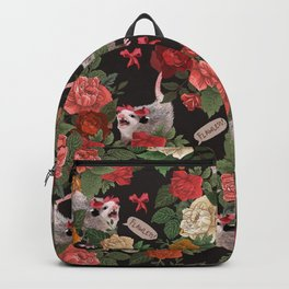 Opossum Floral Pattern (with text) Backpack