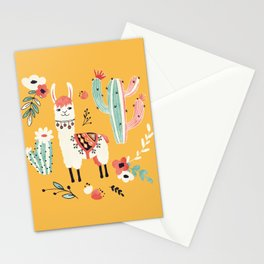 White Llama with flowers Stationery Cards