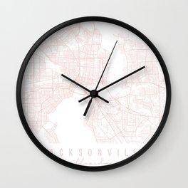Jacksonville Florida Light Pink Minimal Street Map Wall Clock