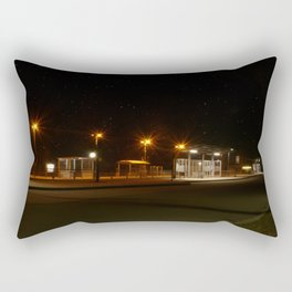 Train and Bus stop in Germany by night Rectangular Pillow