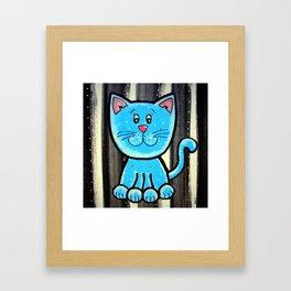 BW BLUE cat Framed Art Print