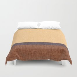 Simple Stripe Abstract with Burlap Pattern Duvet Cover