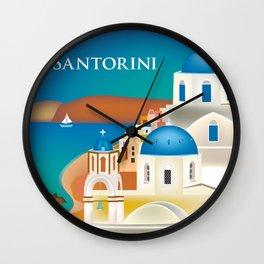 Santorini, Greece - Skyline Illustration by Loose Petals Wall Clock