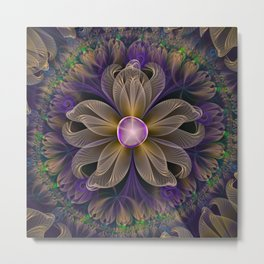 Bohemian Iris of Lavender Potpourri and Green Sage Metal Print