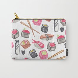 Cute Trendy Watercolor Sushi Sake and Chopsticks Carry-All Pouch