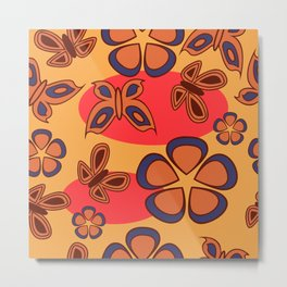 Pattern with butterflies and flowers Metal Print