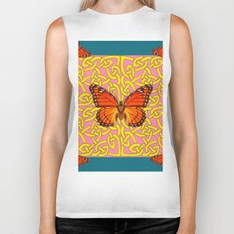 Teal Color Orange Monarch Butterflies Celtic Coral Art Biker Tank