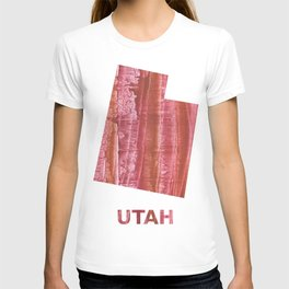 Utah map outline Indian red stained wash drawing T-shirt