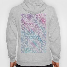 Modern hand painted pink teal watercolor floral mandala Hoody