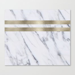 Smokey marble and gilded striped accents Canvas Print