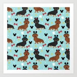 Dachshund theme park dog - black and tan and red doxies Art Print