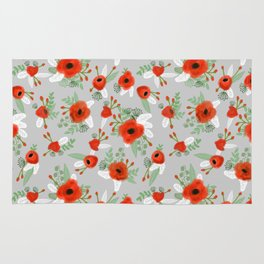 Poppy flower painted pattern floral florals prints poppies red Rug