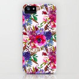 Magenta pink lavender blue watercolor bohemian floral iPhone Case