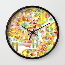 Art Deco Pastel Fireworks Wall Clock