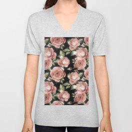 Classic Pink Roses On Black Unisex V-Neck