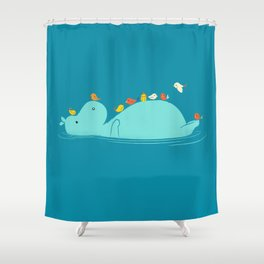 Floating Hippo Shower Curtain