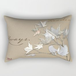 In love with reading - collage of leaves from old book pages Rectangular Pillow