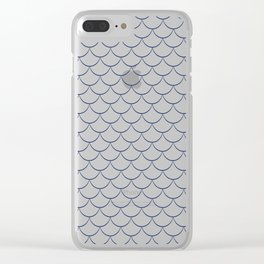 Modern navy blue white scallope pattern Clear iPhone Case