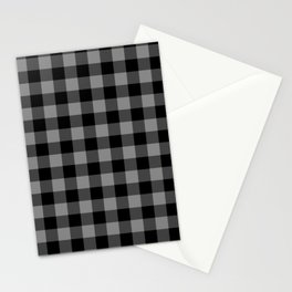 Gray and Black Lumberjack Buffalo Plaid Fabric Stationery Cards