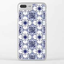 Portuguese Tiles Blue and White III Azulejos Clear iPhone Case