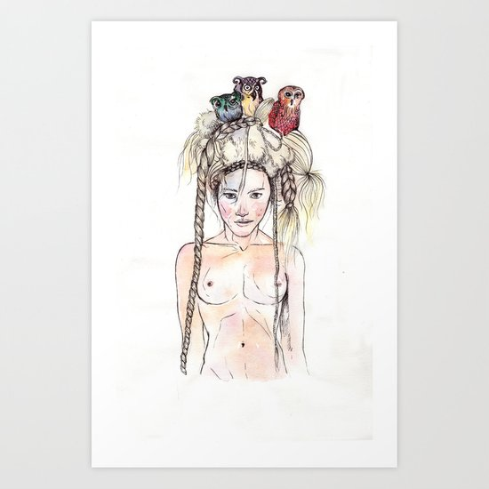 Owls in the head Art Print