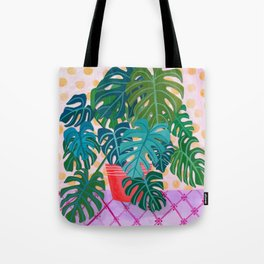 Split Leaf Philodendron Houseplant Painting Tote Bag