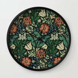 William Morris Compton Floral Art Nouveau Pattern Wall Clock