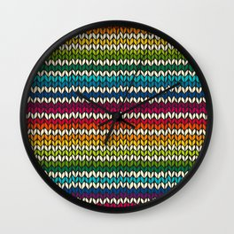 Rainbow knitted stripes Wall Clock